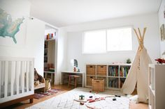 Love this kids room. Use those bookcases in the kiddos shared room. Hither and Thither
