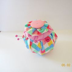Plaid YO YO Pincushion. Handmade with matching by Happy2BCrafty