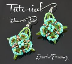 Earring bead pattern beading tutorial superduo by BeadedTreasury