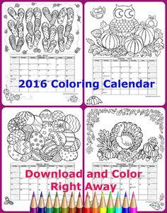Adult Coloring Calendar 2016 12 Original Hand By BigTRanchSoap