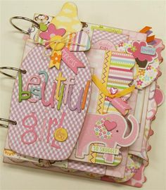 Bella Blvd. adorable baby girl mini album.  www.paisleysandpolkadots.com  #minialbums #Bellablvd #babygirl