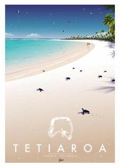 Tahiti, Victor Brauner, Beach Posters, Retro Poster, Vintage Theme, Surf Art, Vintage Travel Posters, Vintage Photography, Vintage Images