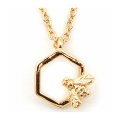 Bee & Hexagon Gold Mini Pendant Necklace ($40) ❤ liked on Polyvore featuring jewelry, necklaces, yellow gold necklace, mini pendants, chain necklaces, mini pendant necklace and gold bee necklace