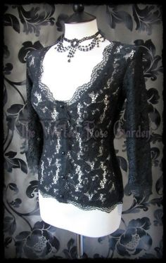 Victorian Goth Black Lace Cardigan Style Top 10 Romantic Rose | THE WILTED ROSE GARDEN on eBay // UK Based // Worldwide Shipping Available