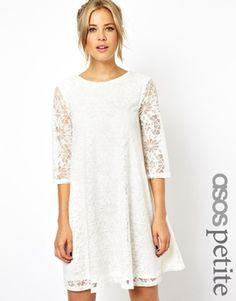 Image 1 ofASOS PETITE Lace Swing Dress with Half Sleeve