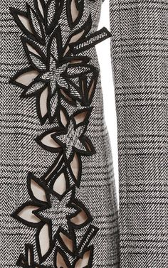 Shop Prince of Wales Floral Cutout Dress. This **Carolina Herrera** dress is crafted in wool and features a mini length hem and a floral cutout design. Cutwork Embroidery, Embroidery Dress, Embroidery Stitches, Machine Embroidery, Embroidery Fashion, Embroidery Suits Design, Hand Embroidery Designs, Embroidery Patterns, Sewing Patterns