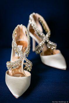 Stunning wedding shoes - off-white heels with diamond details {Aevitas Weddings}