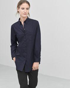 Cotton Button Down Shirt Navy
