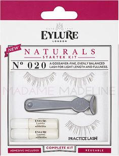 Eylure NATURALS Starter Kit N° 020 contains one pair of N° 020 lashes, applicator, two vials of Lashfix Adhesive, and an extra practice lash.   #falselashes #eylurelashes