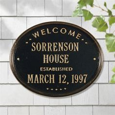"""Whitehall Products 1390 Personalized Welcome Oval """"House"""" Established Address Plaque"""