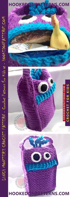 Lunch Bag Crochet Pattern - These funky Lunch monsters love to gobble up packed food, keeping them safe until lunch time. #crochet #lunch #bag #crafts