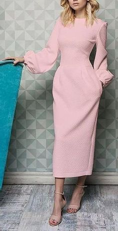 Lovely pink long dress with beige sandals Simple Dresses, Elegant Dresses, Pretty Dresses, Beautiful Dresses, Casual Dresses, Dresses For Work, Formal Dresses, Pink Dresses, Formal Prom