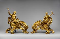 Pair of firedogs (Chenets) Date: ca. 1750 Culture: French Medium: Gilt bronze
