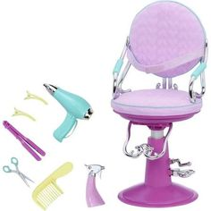 Our Generation Sitting Pretty Doll Salon Chair - Lilac Quilted Hearts : Target Ag Dolls, Girl Dolls, Barbie Dolls, Toys For Girls, Kids Toys, Poupées Our Generation, American Girl Doll Sets, Baby Alive Dolls, Salon Chairs