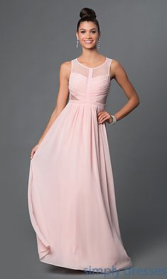 Shop floor length chiffon formal gowns with sheer illusion mesh backs at SimplyDresses. Sleeveless long evening dresses for prom or military ball.