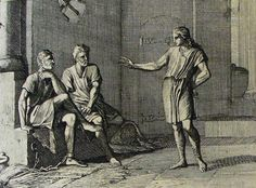 The Phillip Medhurst Picture Torah 190. Joseph interpreting the prisoners' dreams. Genesis cap 41 vv 7&19. Caspar Luyken