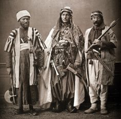 : Christian mountain dweller of Zahlè (Zaḥlah) (2): Christian mountain dweller of Zgarta (Zgharta) and (3) Druze of Liban (Lebanon). Les Costumes Populaires De La Turquie, en 1873.A collection of photographs by the famous photographer Pascal Sebah on the occasion of the universal exposition in Viena in 1873. The album represents the costumes of the different regions, and ethnic and religious groups of the Ottoman Empire