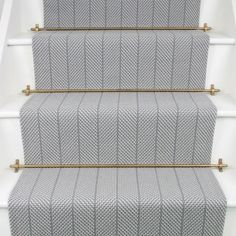 Fleetwood Fox Stair runner Grayling 2 Available at Mister Smith Interiors Carpet Staircase, Staircase Runner, Stair Runners, Carpet Runner On Stairs, Striped Carpet Stairs, White Staircase, Hallway Carpet, Modern Staircase, Hallway Inspiration