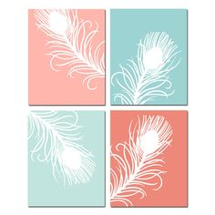 Modern Peacock Feather Quad for nursery decor - Seller Tessyla on Etsy