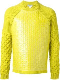 €429, Jersey con Cuello Circular en Amarillo Verdoso de Kenzo. De farfetch.com. Detalles: https://lookastic.com/men/shop_items/148918/redirect