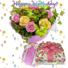 Birthday Message For Friend, Birthday Pins, Happy Birthday Messages, Happy Birthday Images, Birthday Greetings, It's Your Birthday, Feliz Gif, Happy Brithday, Beautiful Flowers Images