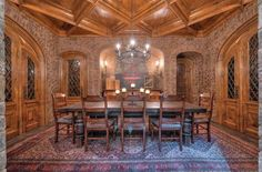Wine Cellar with a beautiful ceiling, and a table large enough for a tasting party...