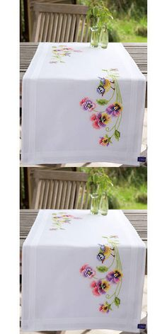 Stamped Linens 75566: Little Birds And Pansies Table Runner Stamped Embroidery Kit -> BUY IT NOW ONLY: $30.94 on eBay!