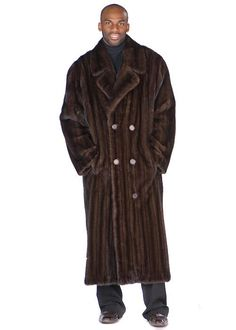 A mens mink coat that is dashing and debonair in a full length double breasted coat! This very appealing men's mahogany brown fur coat is a show stopper! Mens Winter Fashion Jackets, Winter Outfits Men, Outfit Winter, Winter Clothes, Mink Coat Mens, Mens Fur, Brown Fur Coat, Double Breasted Coat, Warm Coat