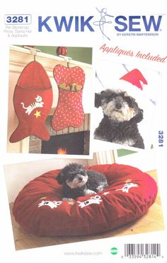 Kwik Sew Sewing Pattern 3281 Dog Cat Bone Fish Stockings Sleep Pillow Santa Hat  --  Currently Available for sale from www.MoonwishesSewingandCrafts.com