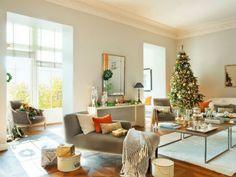 Decoración de salón navideña en color naranja