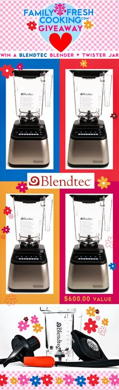 Win a Blendtec Blender + Twister Jar :) Giveaway on FamilyFreshCooking.com