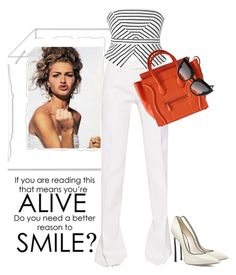 """""""Black and white with a pop of color!"""" by juliehooper ❤ liked on Polyvore featuring Antonio Berardi, Ally Fashion, CÉLINE, Casadei and Barn's"""