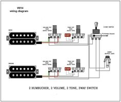 Guitar Wiring Diagram 2 Humbuckers3Way Toggle Switch1 Volume2 TonesCoil Tap | Guitars