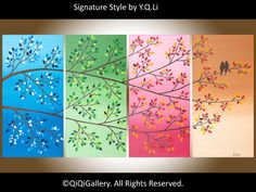 Original Oil Painting Impasto Love Birds Tree by QiQiGallery