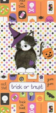 Cute black cat in witches hat, trick or treat message for Halloween as well as for October birthday