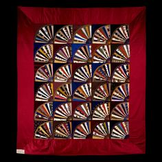 Fan Quilt, 1886; Maker: Anna Eliza Blackwell Clark; silks with satin border; Baltimore, MD