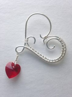 Wire wrapped heart pendant red heart valentines jewelry