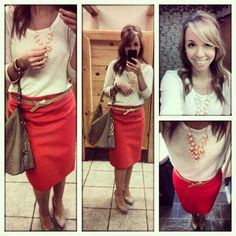 Red pencil skirt with a peach statement necklace