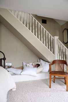 I want one! A cozy little area With ALOT of pillows. Soft fuzzy blanket and a good book! Sounds like an amazing idea!!