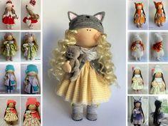 Cat doll Textile doll Catty doll Handmade doll Fabric doll yellow doll Soft doll Cloth doll Tilda doll Interior doll Art doll by Irina E. __________________________________________________________________________________________ Hello, dear visitors! This is handmade cloth doll