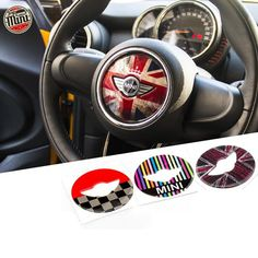 MINI cooper Steering Wheel Panel PU Decal sticker Union Jack Checker Your Shopping Cart – Carsoda Mini Countryman Accessories, Mini Cooper Accessories, Bling Car Accessories, Cooper Countryman, Mini Cooper Clubman, Jaguar Cars, Union Jack, Accessoires Mini Cooper, Mini Cooper Stripes