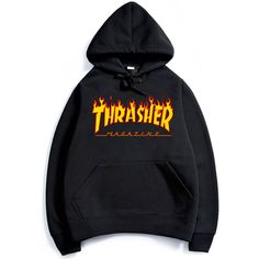 2017 thrasher Hoodies men Hip Hop Flame trasher Sportswear hoody Sweatshirt Solid Skateboard Pullover Hoodie Man brand Clothing *** Offer can be found by clicking the VISIT button