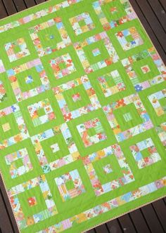 Simply Modern #quilt #modern by gena. Like the green background. Lots of options!