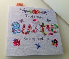 Birthday Card Auntie,Printed Applique Design,Handfinished Greeting Card £1.95