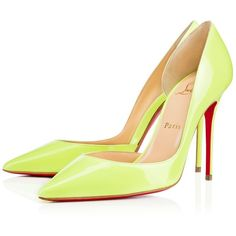 CHRISTIAN LOUBOUTIN Iriza 100 Patent Patent Spring/Summer '16 ($675) ❤ liked on Polyvore featuring shoes, pumps, sexy high heel shoes, sexy summer shoes, high heel pumps, patent leather pumps and neon pumps
