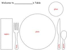 Printable Placemat for Learning How to Set the Table from