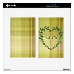 Irish Girl Shamrock Heart Kindle Fire Decals