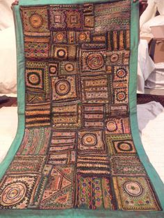 Vintage Cotton Decor Wall Hanging Indian Handmade Embroidered Patchwork Tapestry