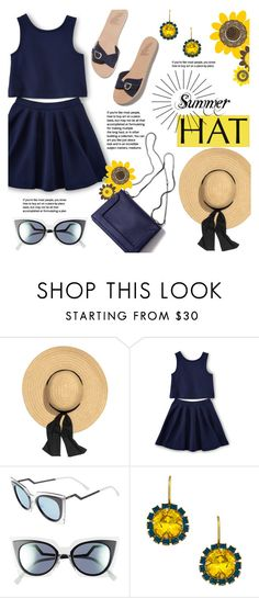 """""""Summer Hat"""" by alexandrazeres ❤ liked on Polyvore featuring Ancient Greek Sandals, Fendi, Liz Palacios, sunflower, navyblue and summerhat"""