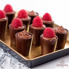 Edible shot glasses… decadence served. GODIVA Cocoa Cups 1. Melt 2 1/2 cups of GODIVA Chocolate and mix with 2 cups of GODIVA Milk Chocolate Liqueur and 1/3 cup of corn syrup. 2. Fill molds slowly with desired chocolate mixture.  3. Let it set, then scrape off any excess chocolate.  4. Fill chocolate cups with pudding or mousse of your choice and indulge.